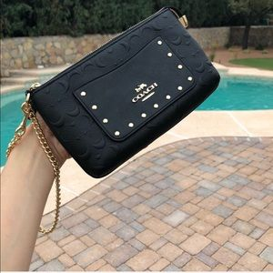 Coach Signature Leather RVT Chain Wristlet Black